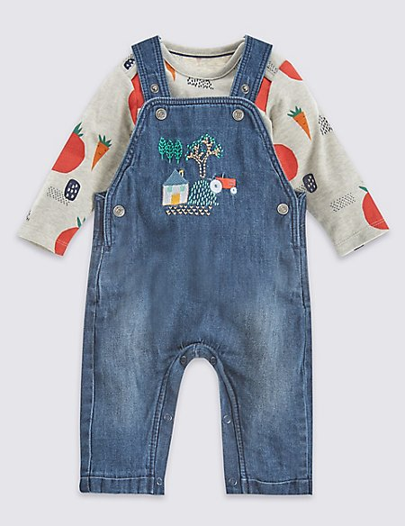 2 Piece Tractor Dungarees and All Over Print Bodysuit Outfit