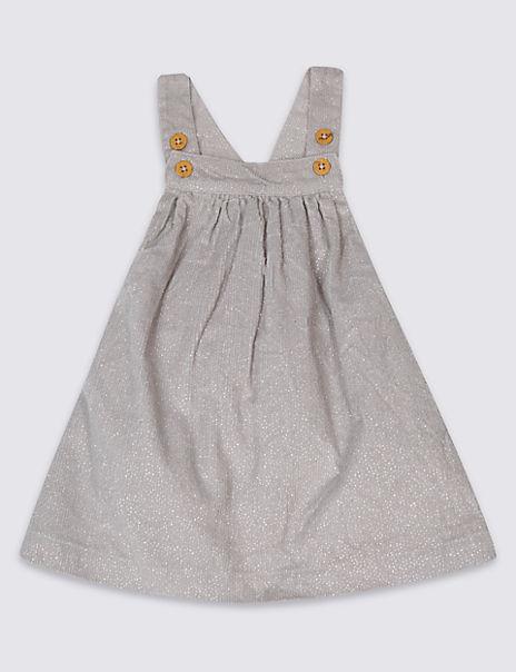 Glitter Pure Cotton Pinny Baby Dress