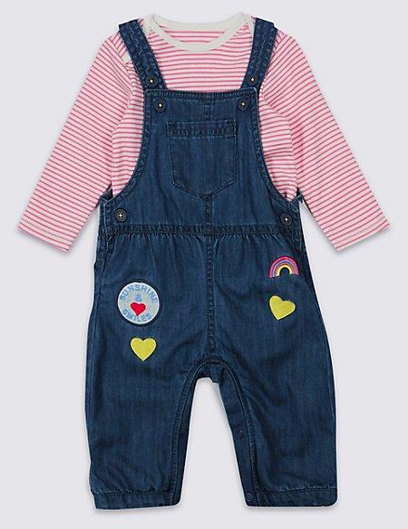 2 Piece Applique Dungaree & Bodysuit Outfit