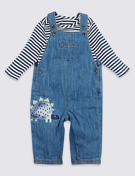 2 Piece Bodysuit with Dungarees Outfit