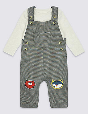 2 Piece Applique Knee Dungarees & Bodysuit Outfit