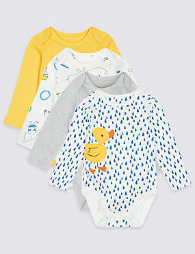 4 Pack Bath Time Print Pure Cotton Bodysuits