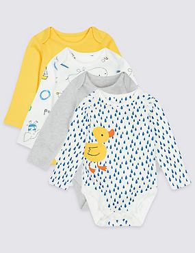 4 Pack Bath Time Print Pure Cotton Bodysuits