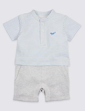 Striped Pure Cotton Mock Romper
