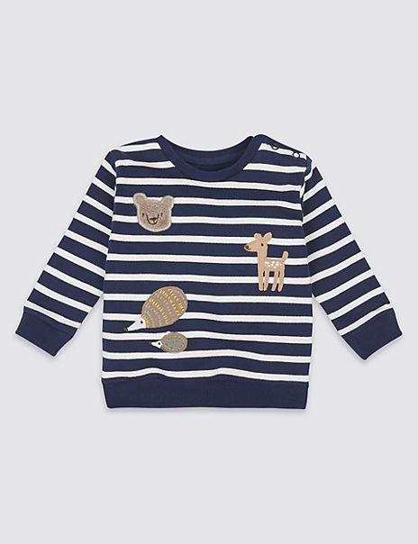 Pure Cotton Striped Applique Sweatshirt