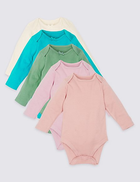 5 Pack Assorted Pure Cotton Bodysuits