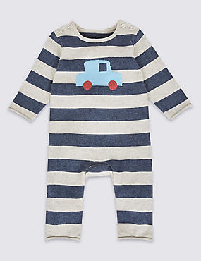 Pure Cotton Car Print Knitted All in One