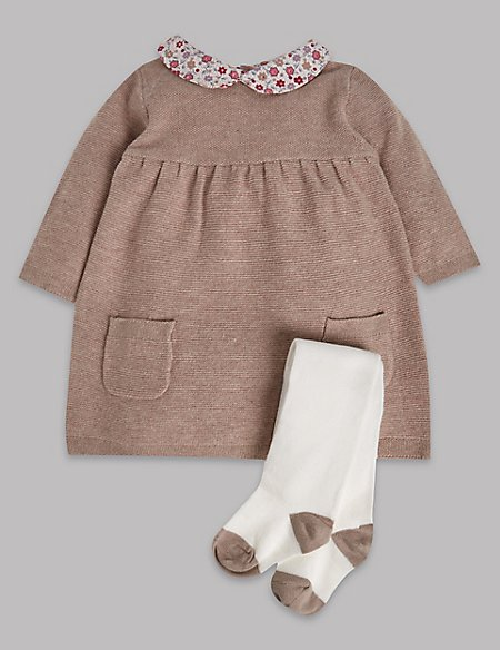 2 Piece Knitted Dress with Tights