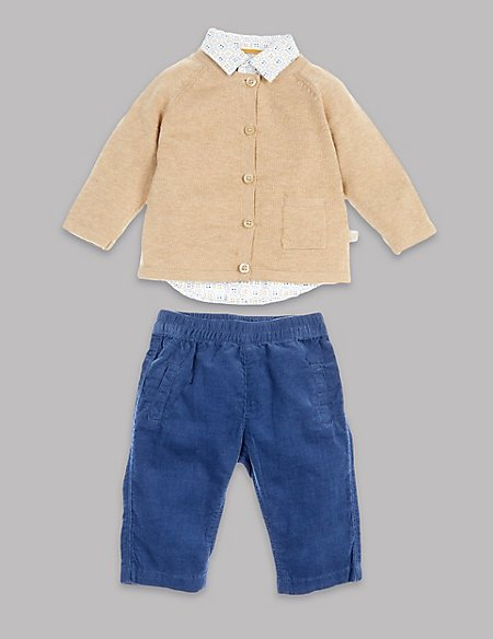 3 Piece Cotton Shirt & Cord Trouser with Knitted Cardigan