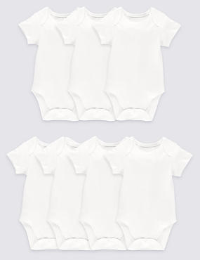 7 Pack Flat Seams Pure Cotton Bodysuits