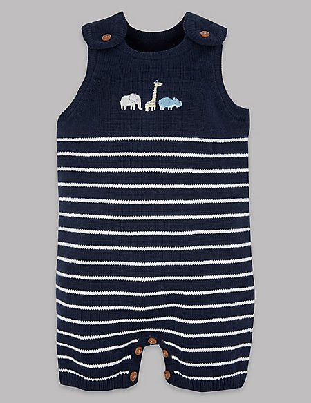 Pure Cotton Knitted Dungarees