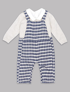3 Piece Bodysuit & Cardigan with Dungaree Outfit