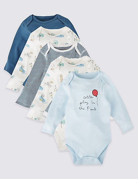 5 Pack Pure Cotton Bodysuits