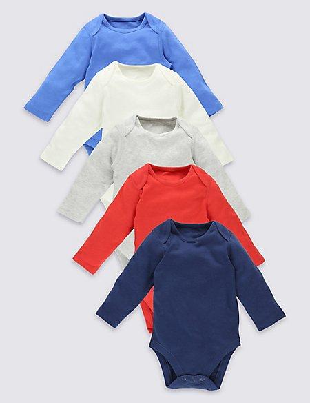 5 Pack Plain Colour Pure Cotton Bodysuits