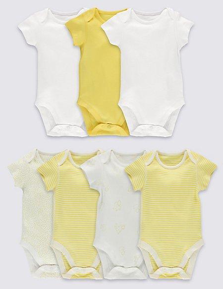 7 Pack Unisex Pure Cotton Bodysuits