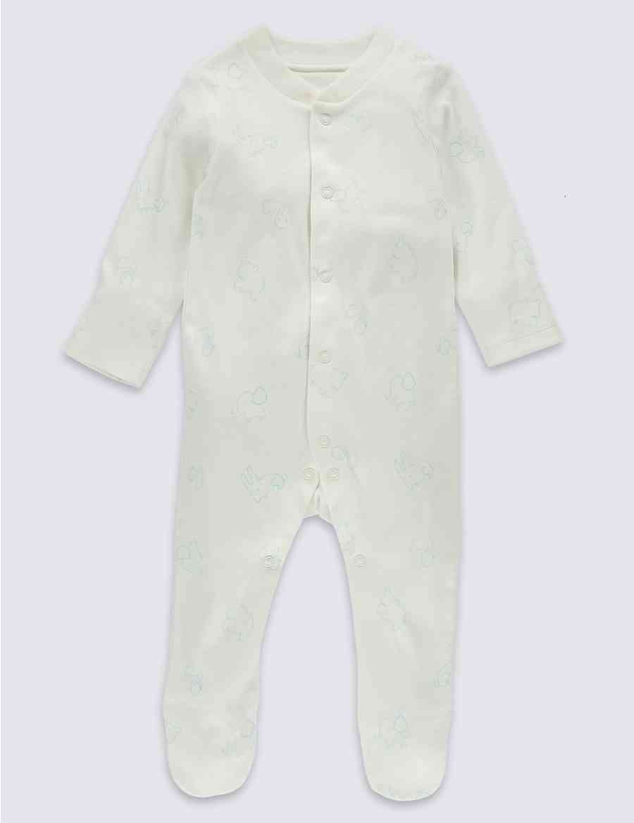 3388b2f52 3 Pack Pure Cotton Baby Sleepsuits