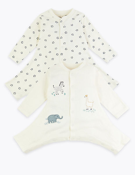 2 Pack Llama & Star Print Hip Dysplasia Sleepsuits