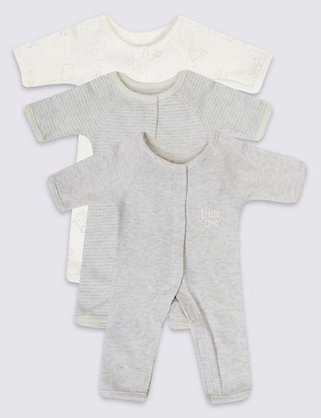 Adaptive 3 Pack Premature Pure Cotton Sleepsuits