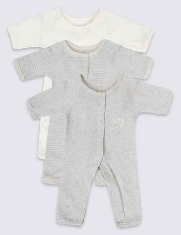 e92ae2fc0 Easy Dressing 3 Pack Premature Pure Cotton Sleepsuits
