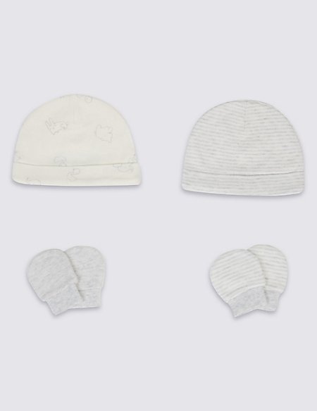 4 Piece Pure Cotton Premature Hat & Mittens Set