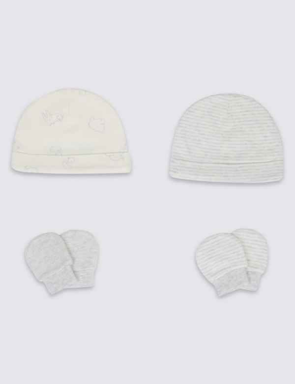 5bee1beae39 Easy Dressing 4 Piece Pure Cotton Premature Hat   Mittens Set