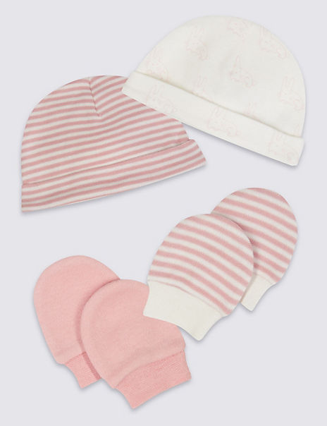 Easy Dressing 4 Piece Pure Cotton Premature Hat & Mittens Set