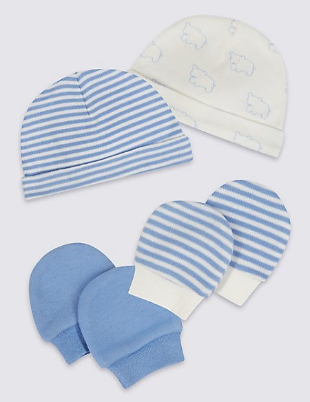4 Piece Pure Cotton Premature Hat & Mittens Set