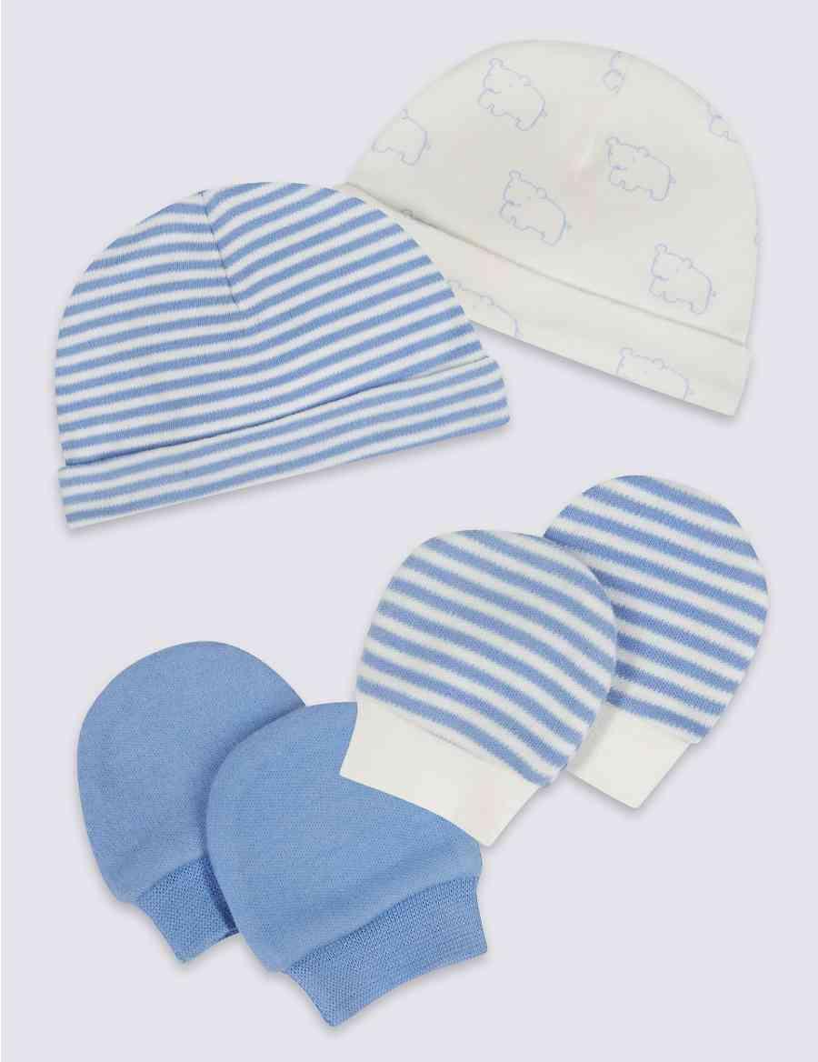 86bcf9062cd3 Easy Dressing 4 Piece Pure Cotton Premature Hat   Mittens Set