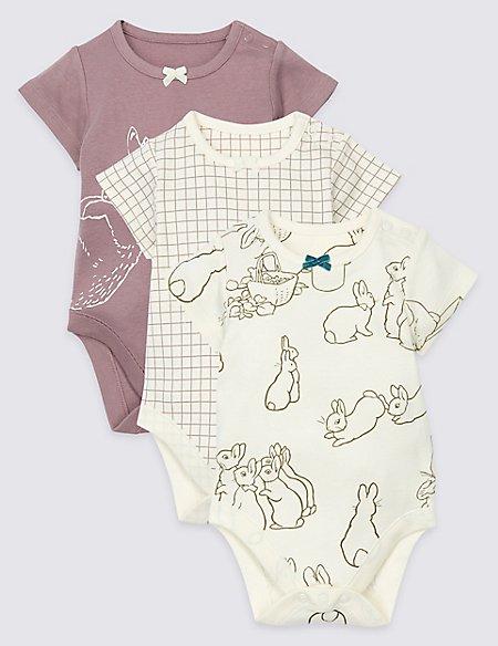 3 Pack Peter Rabbit™ Pure Cotton Bodysuits
