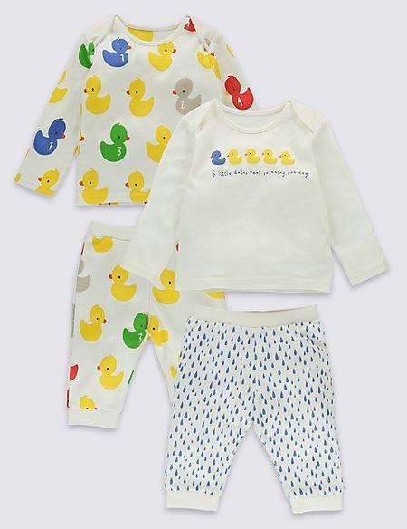 2 Pack Pure Cotton Bath time Ducks Pyjama Set