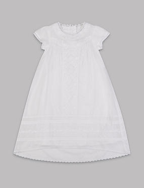 Pure Cotton Embroidered Christening Baby Dress (0-12 Mths)