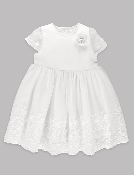 Embroidered Lace Christening Baby Dress