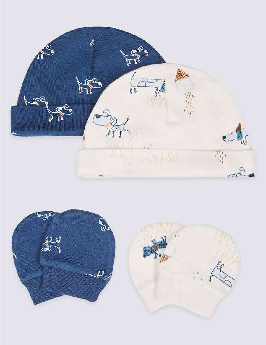 ecf920c7be872 Easy Dressing 4 Piece Premature Hat   Mittens Set