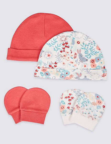 Pure Cotton Adaptive 4 Piece Premature Hat & Mittens Set