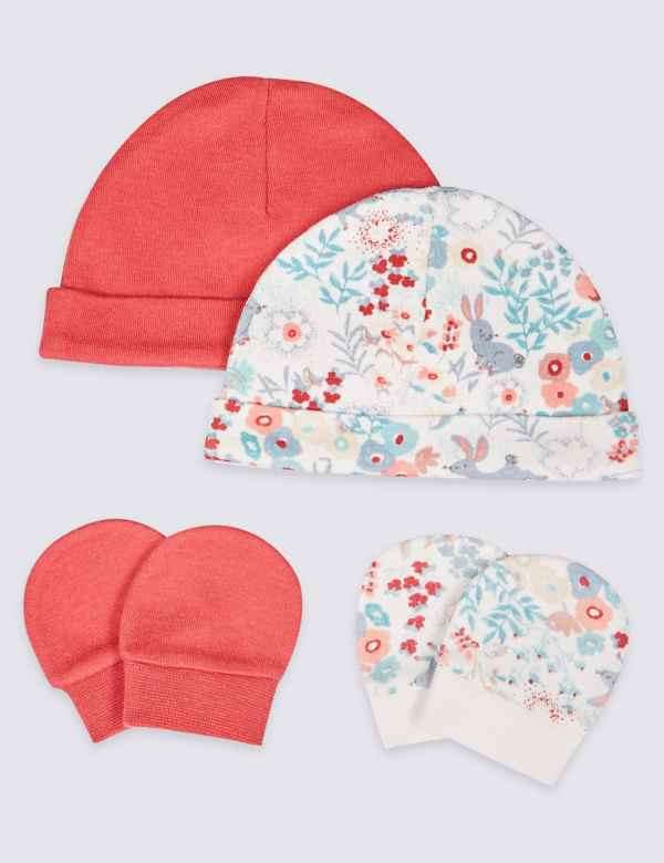 8651011d4a2f3 Easy Dressing 4 Piece Premature Hat   Mittens Set