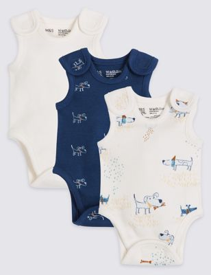 Baby BABY BOYS GIRLS George 3 Pack Sleeveless Vests  Bodysuits Age 3-24 months