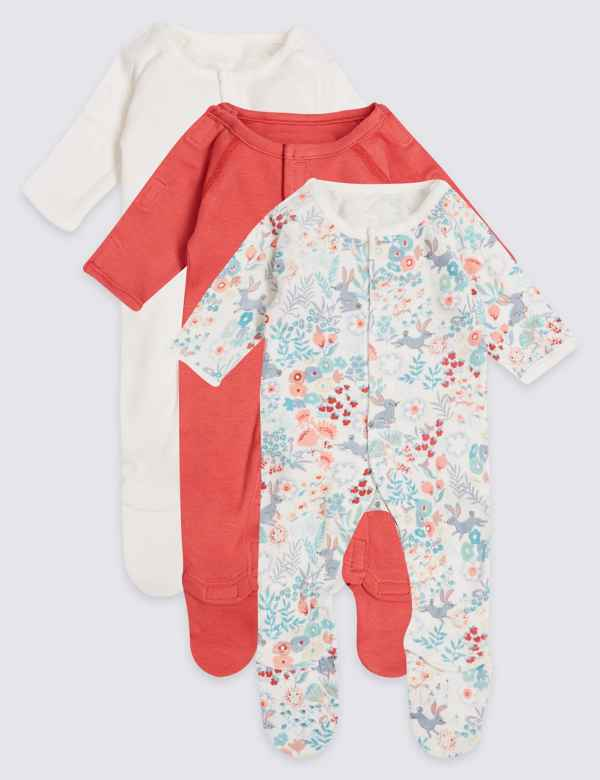8f6ee6f77dfd Easy Dressing 3 Pack Premature Pure Cotton Sleepsuits