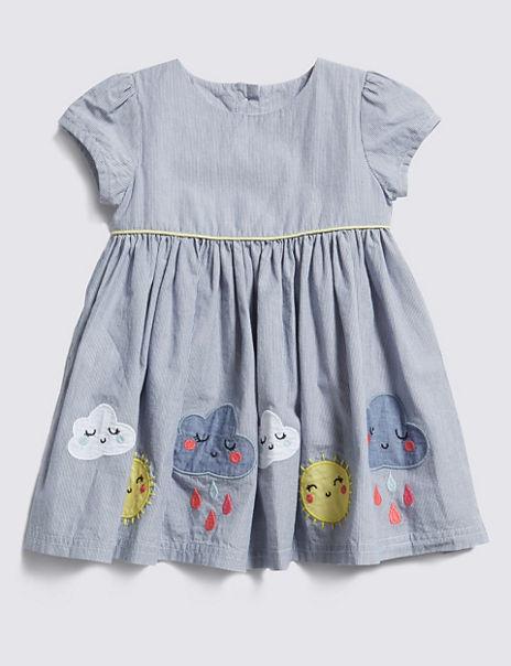 Pure Cotton Striped Dress