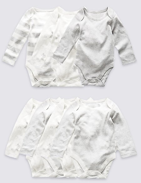 7 Pack Unisex Elephant Skin Kind™ Long Sleeve Bodysuits