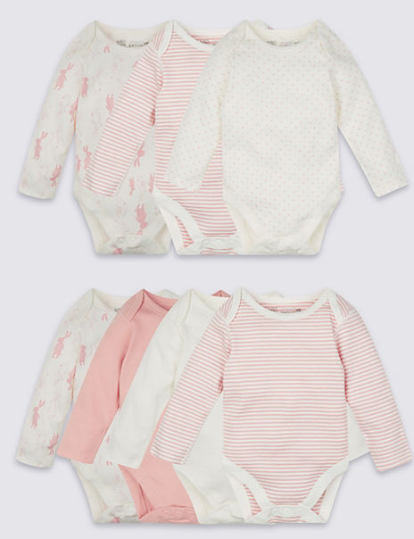 7 Pack Pure Cotton Girls Rabbit Skin Kind™ Long Sleeve Bodysuits