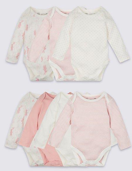 7 Pack Girls Rabbit Skin Kind™ Long Sleeve Bodysuits