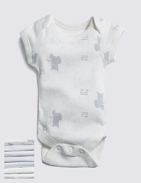 7 Pack Unisex Elephant Short Sleeve Bodysuits (Tiny)