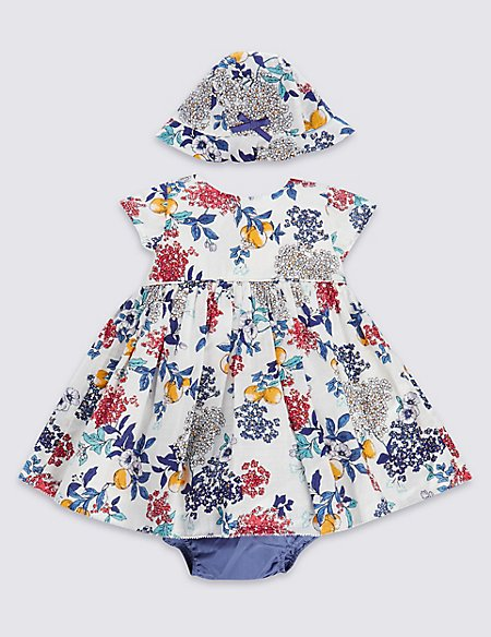 3 Piece Pure Cotton Floral Dress with Knickers & Hat