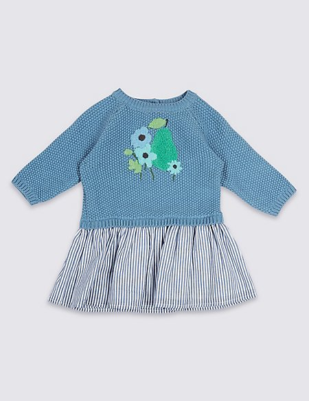 Pure Cotton Pear Knit Woven Baby Dress