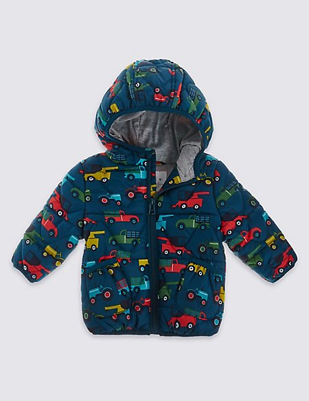 Car Print Hooded Coat
