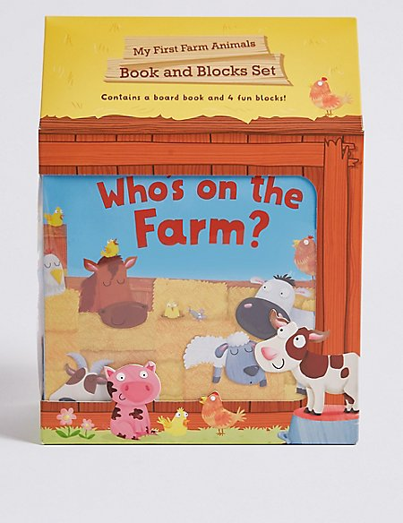 My First Farm Animals Book & Blocks Set