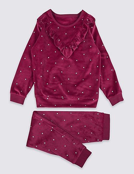 Ruffle Velour Pyjamas (3-16 Years)