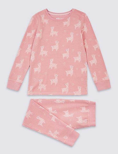 Cotton Llama Pyjamas with Stretch (3-16 Years)