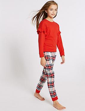 Checked Pyjamas (3-16 Years), GREY MARL, catlanding