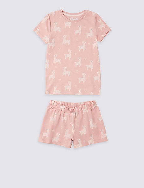 Cotton Llama Short Pyjamas with Stretch (3-16 Years)